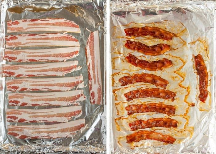 2 photos showing bacon on a baking sheet lined with foil