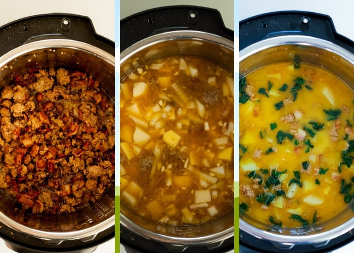 three photos showing the process for making dairy-free instant pot zuppa toscana