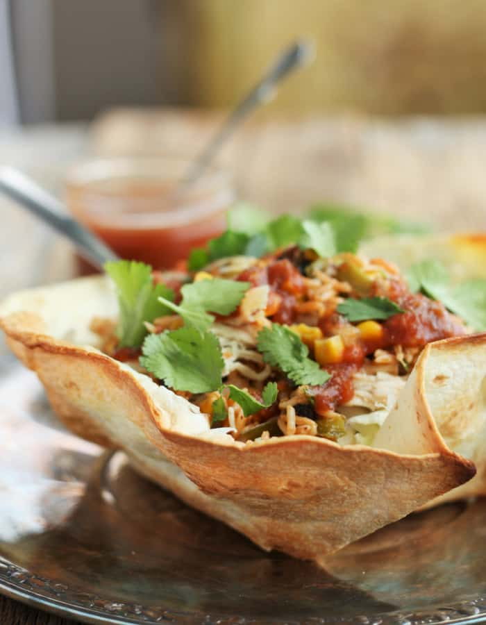A homemade taco salad bowls with taco mix