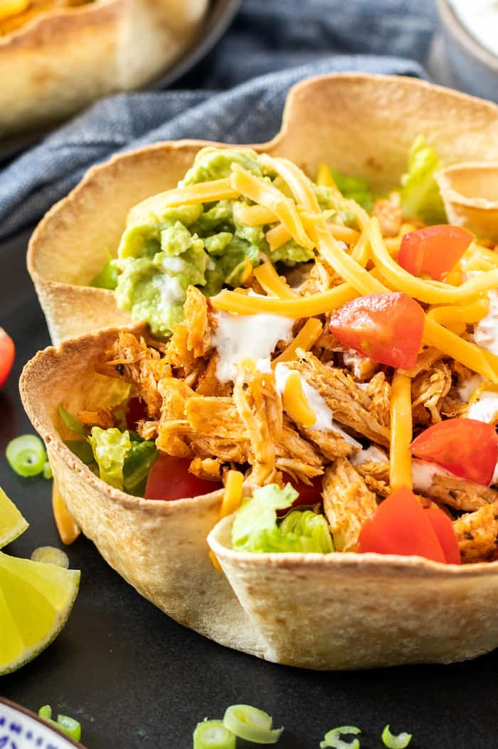 a crunchy taco salad bowl on a plate