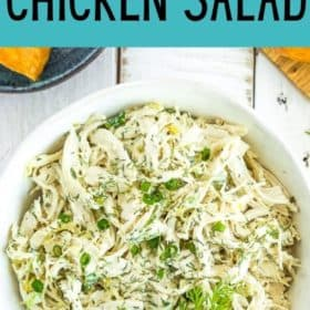 a white bowl of mayo free chicken salad