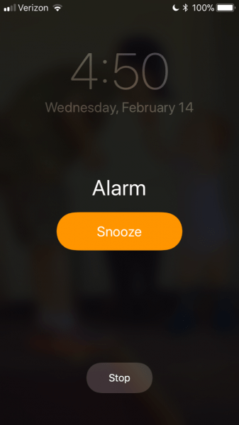 screen capture of alarm on iphone