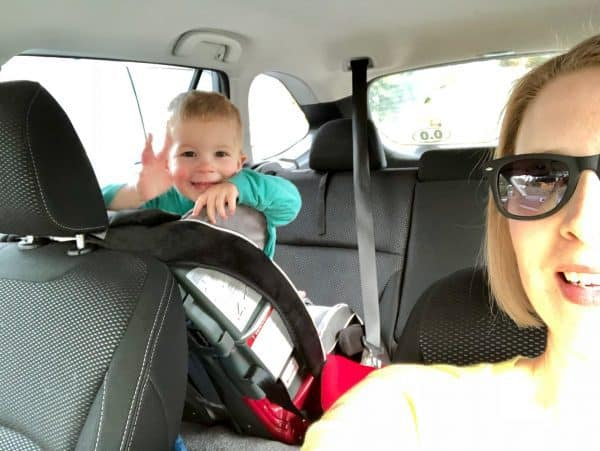 mom and toddler in a car