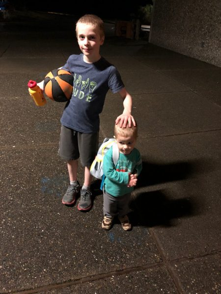 Two boys with a basketball