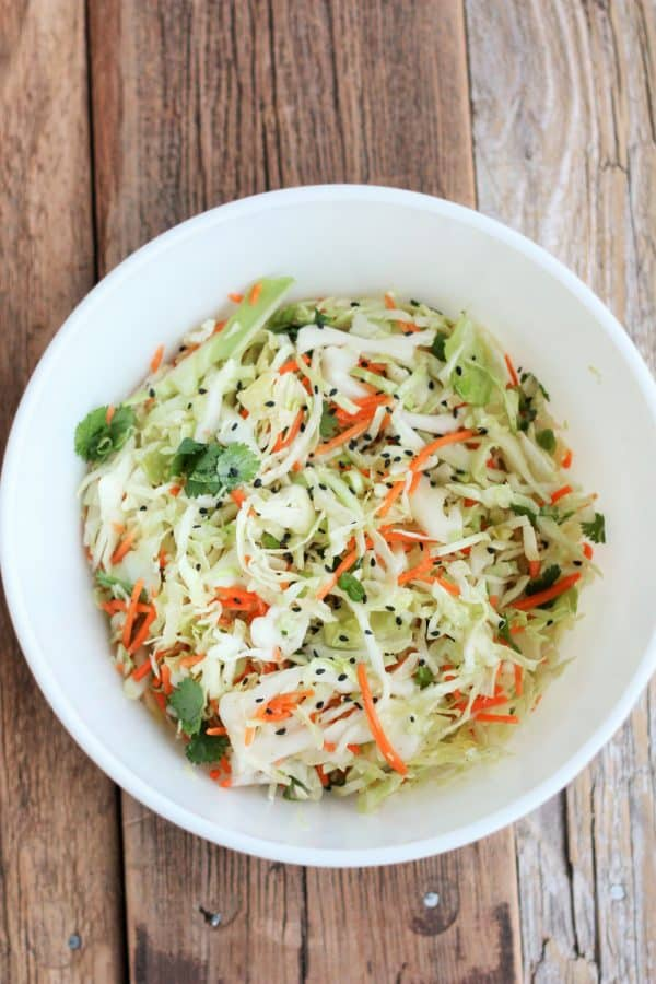 asian coleslaw in a white bowl