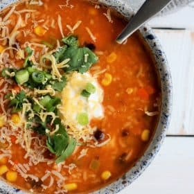 instant pot tortilla soup on a grey board | sustainablecooks.com
