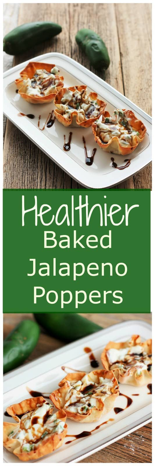 Healthier Baked Jalapeno Poppers are the perfect appetizer, game day treat, or quick snack. They are a delicious blend of spicy and creamy.
