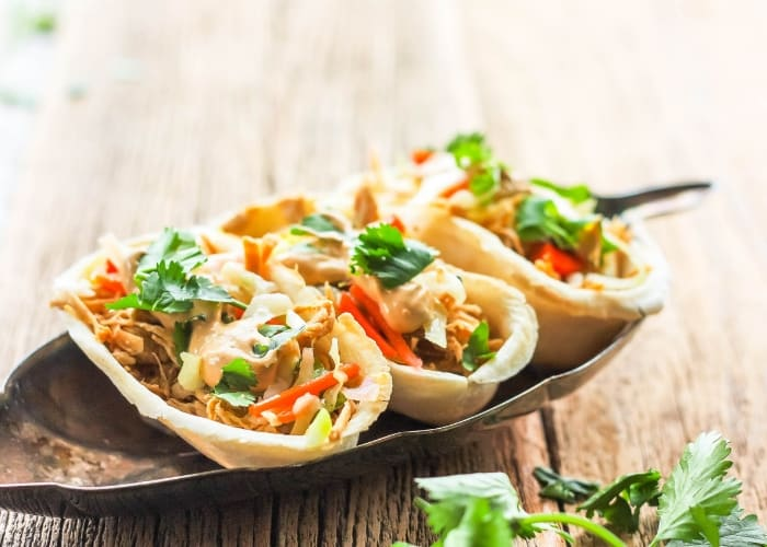 mini chicken taco boats on a plate