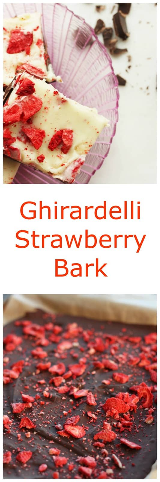 Ghirardelli Strawberry Bark Knock Off is a simple make at home dessert to share for Valentines Day or whenever the mood strikes. Rich chocolate, creamy white chocolate, and dried strawberries make for an easy and sinful dessert.