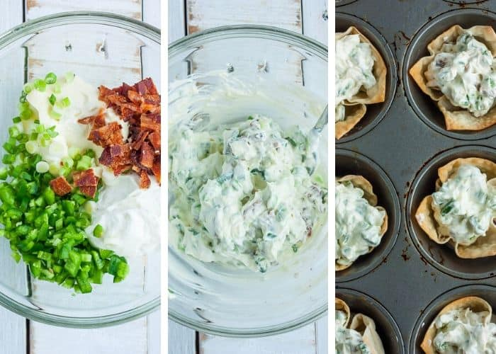 3 photos showing how to make and fill jalapeno popper wonton cups