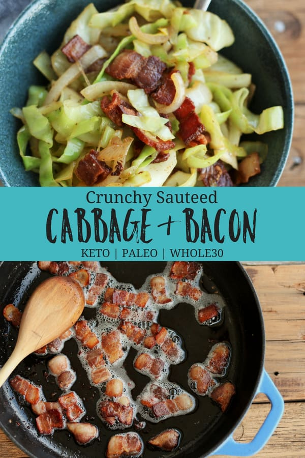 A speedy 10-minute low-carb cabbage and bacon stir-fry recipe that everyone will love. This delicious side dish is Keto, Paleo, and Whole30 compliant. #sustainablecooks #sauteedcabbage #cabbageandbacon #keto #whole30 #paleo #sidedish