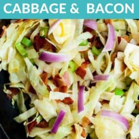 A skillet of fried cabbage and bacon with purple sliced onions