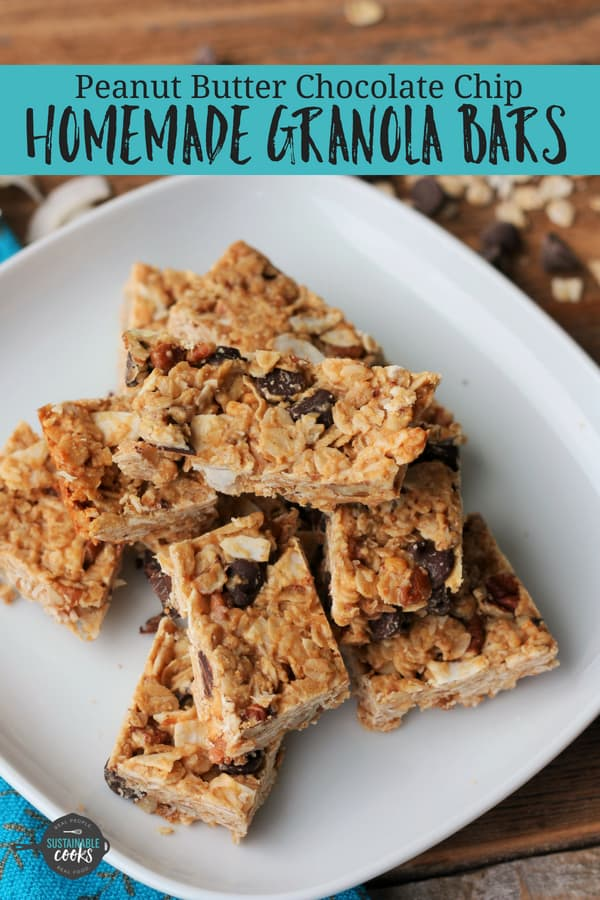 Easy and Healthy Peanut Butter Chocolate Chip Homemade Granola Bars are so much better than store-bought! Perfect for both adults and kids, these protein-packed snacks are so delicious. #sustainablecooks #backtoschool #granolabars #peanutbutter #kidsnacks #healthysnacks #backtoschoolsnacks