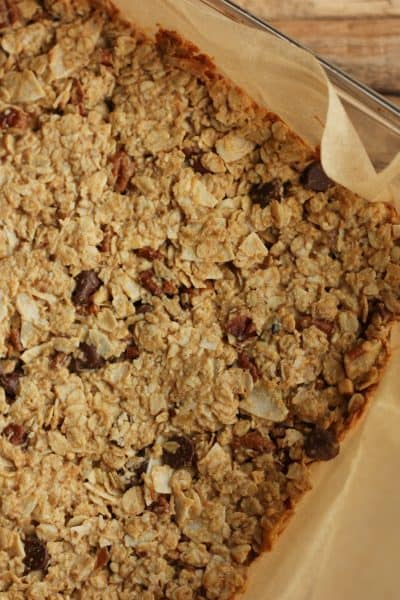 homemade granola bars in a glass pan   sustainablecooks.com