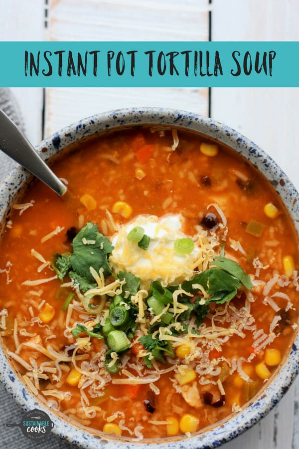 Healthy, easy, and delicious 10 Minute Instant Pot Tortilla Soup With Rice recipe is the tastiest comfort food in under 30 minutes. Instant Pot, slow cooker, and stovetop instructions included. #sustainablecooks #tortillasoup #instantpot #slowcooker #crockpot #easydinner #weeknightdinner