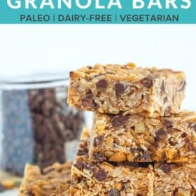 a stack of chocolate chip peanut butter granola bars against a white background