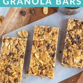 granola bars with chocolate chips on a piece of parchment