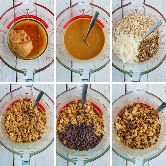 6 process photos showing how to make peanut butter oat bars step by step