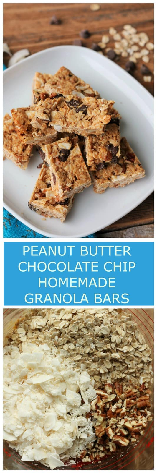 Skip the overpriced packaged granola bars at the store and make your own! Peanut Butter Chocolate Chip Homemade Granola Bars are a delicious and easy real food treat made in your own kitchen.