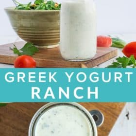 A glass bottle of ranch dressing in front of a bowl of salad