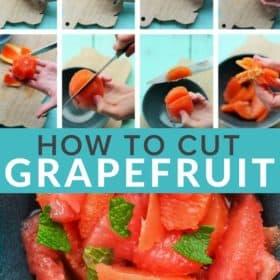 8 photos showing how to segment an orange