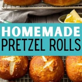 homemade pretzel buns cooling on a rack with a dish of butter