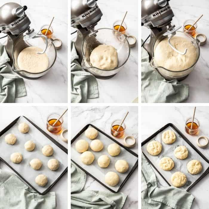 6 photos showing how to make homemade pretzel rolls