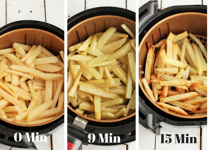 Process shots for air fryer french fries