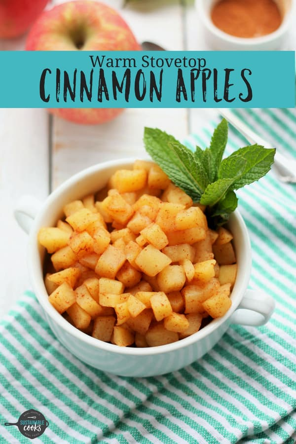 Simple and sweet, Warm Stovetop Cinnamon Apples are the perfect easy healthy comfort food. A bowl of cozy cinnamon apples are sugar-free, dairy-free, gluten-free, vegan, paleo, and Whole30 compliant. #sustainablecooks #apples #cinnamonapples #paleo #whole30