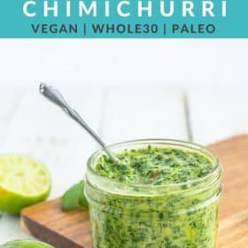 a glass jar of cilantro chimichurri