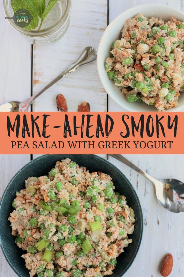 Easy and tasty, this make-ahead Smoky Pea Salad With Greek Yogurt is the best healthy cold side dish you'll ever make! Smoked almonds give this recipe a fun crunchy kick. This salad is also Whole30 compliant, Paleo, and gluten-free. #sustainablecooks #peasalad #coldpeasalad #whole30 #vegetarian #greekyogurt #potluck #healthysidedish