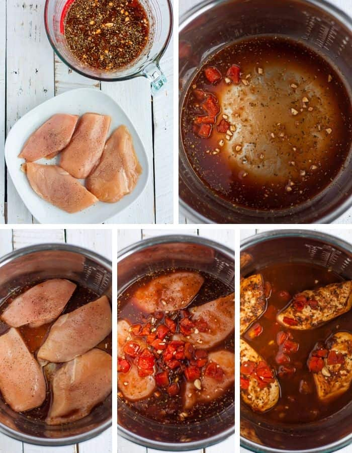 5 step by step photos showing how to make tomato chicken in the Instant Pot