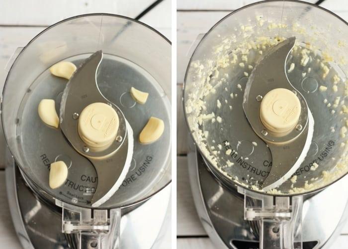 process shots for making chimichurri