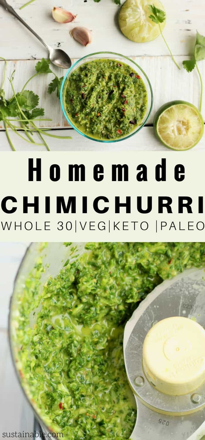 This amazing back pocket chimichurri sauce will transform anything you drizzle it over. Steak, chicken veggies, and eggs (oh heeeeck yes) are all instantly transformed with this herby packed heaven in a jar! #sustainablecooks #vegan #whole30 #paleo #vegetarian #sauces