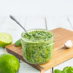 a glass jar of chimichurri