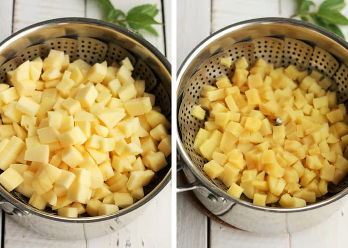 Process shots for making warm steamed apples