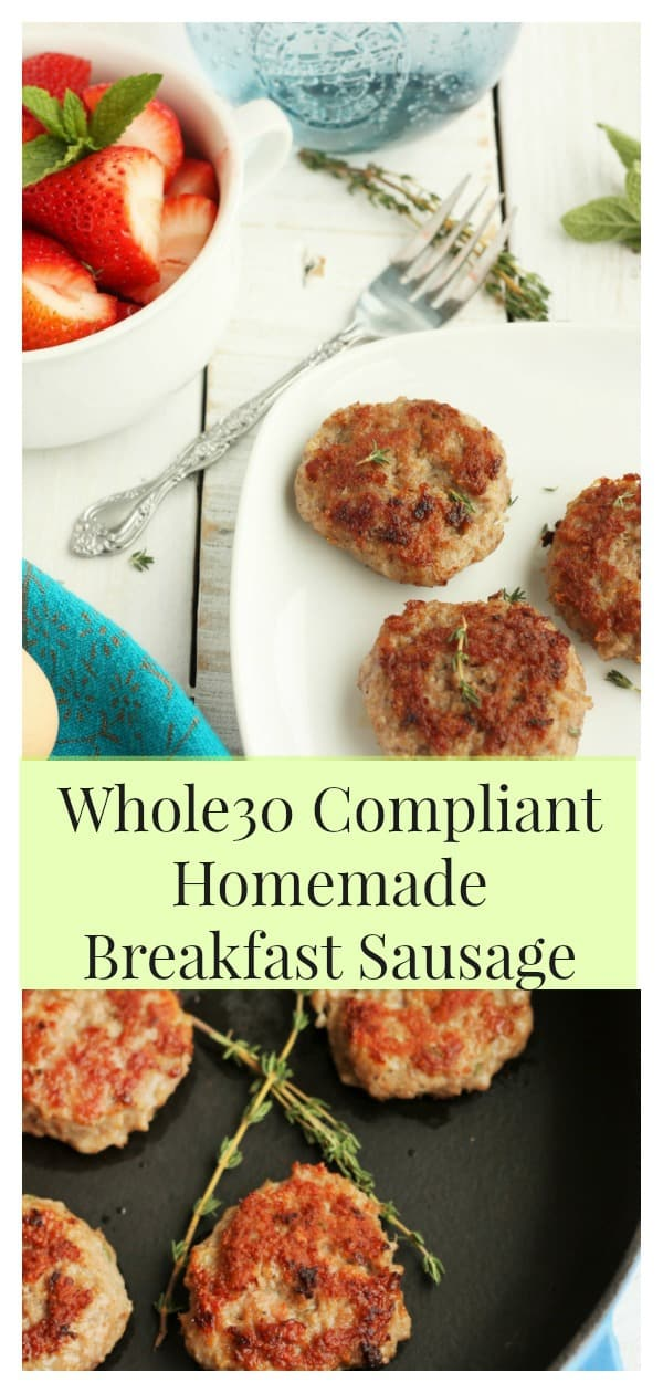 This homemade breakfast sausage is Whole30 compliant and delicious! You can't beat the flavor or quality of making breakfast sausage yourself. Make ahead and freezing tips are included in the recipe. #sustainablecooks #breakfast #whole30 #sausage