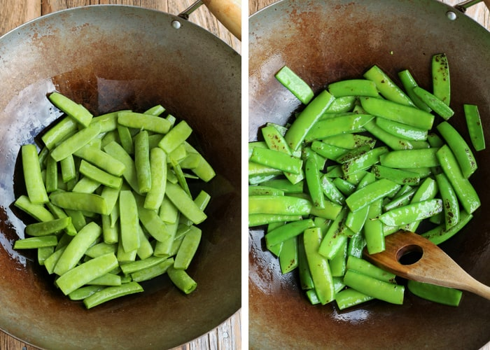 Raw pea pods and stir fried pea pods in a wok