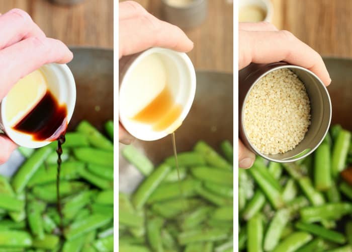 Three process shots of cooking sesame snow peas
