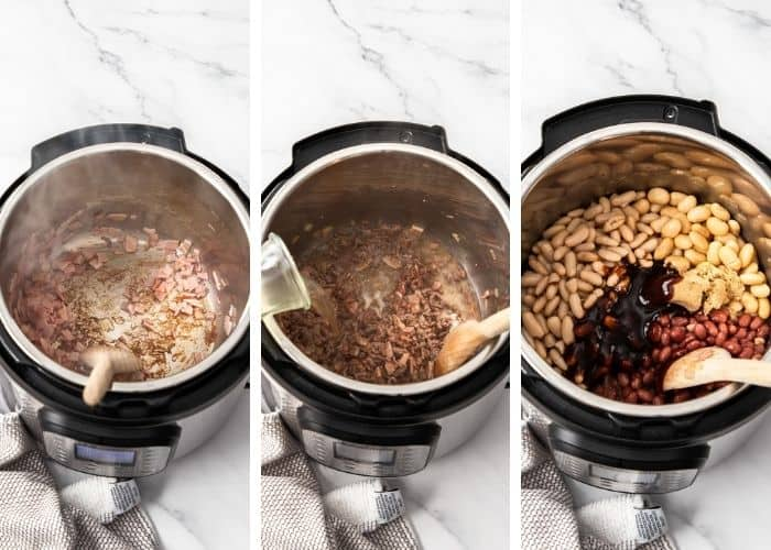 3 photos showing how to make cowboy beans in the Instant Pot