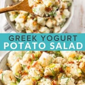A spoon lifting a bite of potato salad
