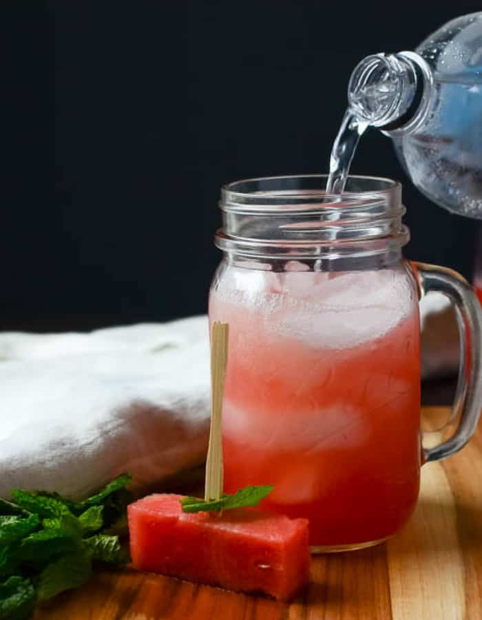 watermelon aqua fresca with mint
