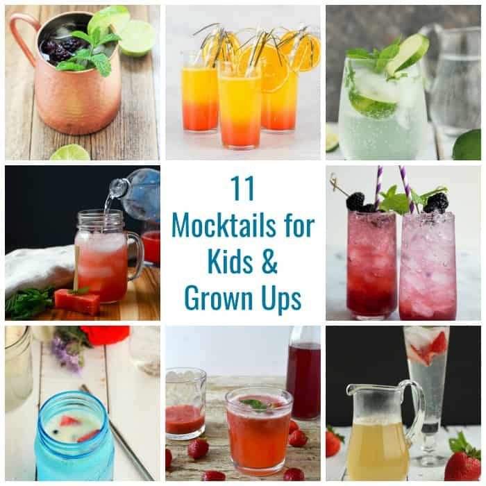 Collage of mocktails for kids