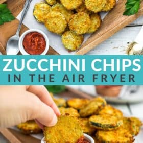 a hand dipping fried zucchini in a white bowl of marinara