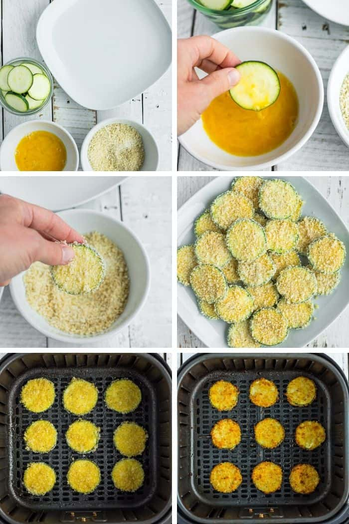 6 photos showing step by step how to bread and cook air fryer zucchini chips