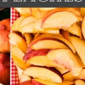 sliced peaches on a plate