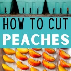 peaches in baskets and sliced peaches on a tray