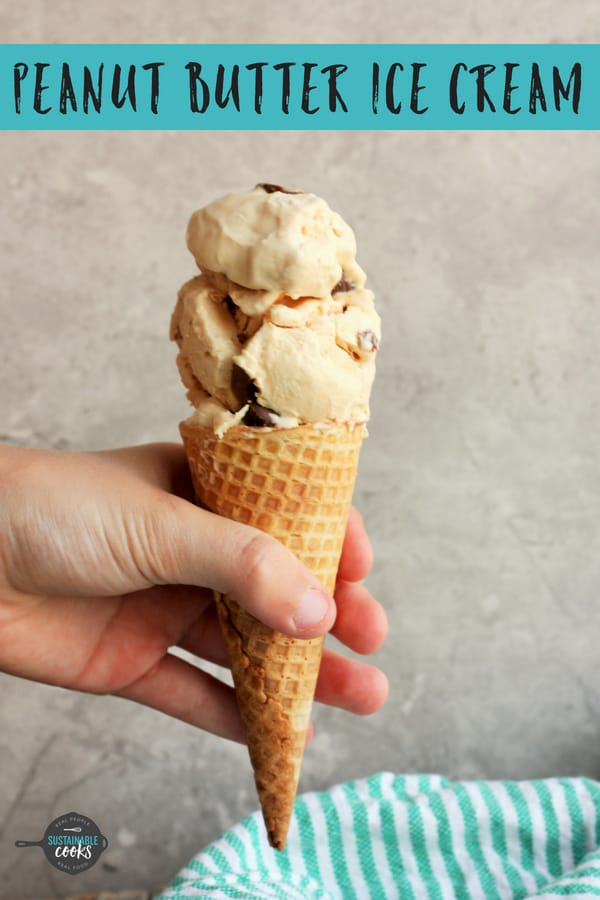 Homemade no churn Peanut Butter Ice Cream is an easy and creamy recipe that you'll want to make over and over. Four ingredients and just five minutes to a splurge-worthy dessert. #sustainablecooks #peanutbuttericecream #nochurn #nochurnicecream #peanutbutter #homemadeicecream
