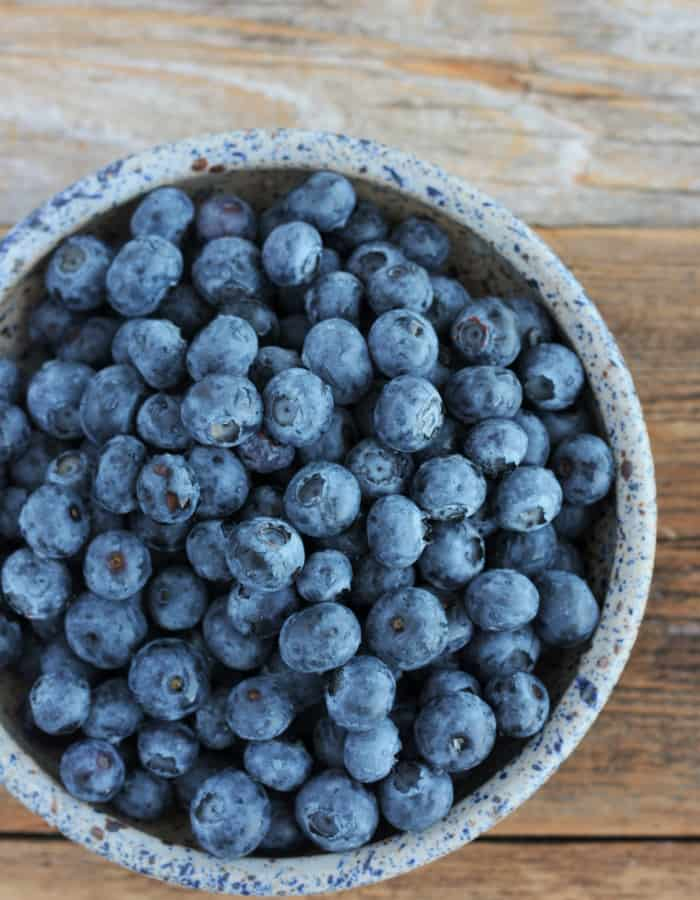 a bowl of ripe blueberries for blueberry ice cream