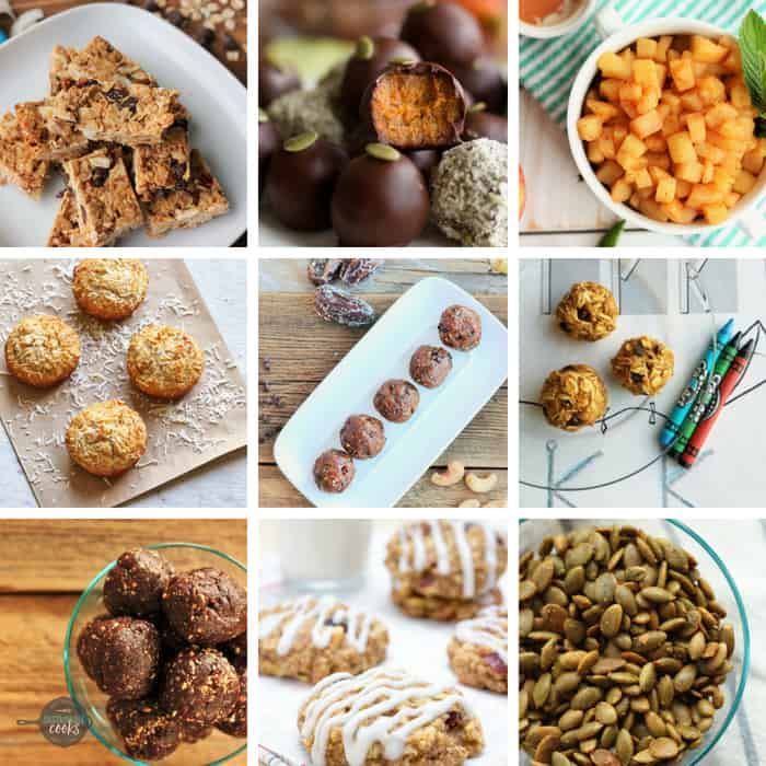 a collage of photos of healthy school snacks